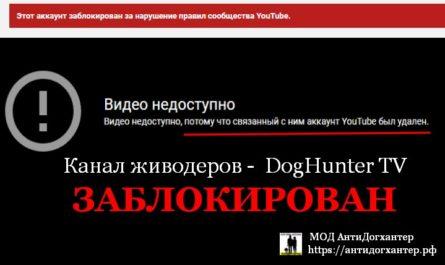 Канал догхантеров заблокирован по петиции Антидогхантер